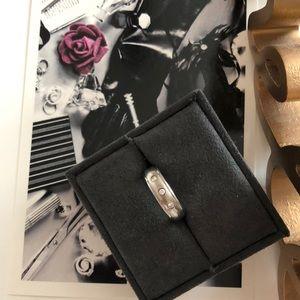 Titanium wed band 3 stones diamond ring sz 6